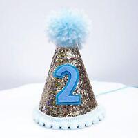 Gold Glitter Sparkles Blue 2nd Birthday Boy Cone Party Hat Toddler Birthday Pom