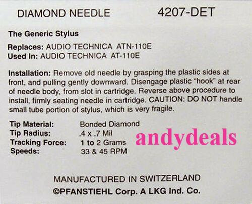 4207-DET STEREO RECORD NEEDLE STYLUS for Technica ATN110E AT-110E ATN105 AT105