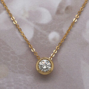 Solid-14K-Yellow-Gold-Over-1-00-Ct-Diamond-Round-Cut-Solitaire-Pendant-Necklaces