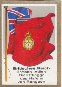 DRAPEAU-British-Empire-britannique-India-Port-Rangoon-Service-Duty-FLAG-CARD-30s
