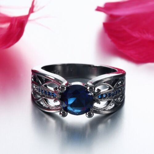 Women Noble 925 Black Gold Sapphire Wedding Engagement Ring Jewelry Size 6-10
