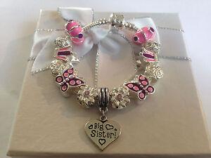 Girls sister unicorn charm bracelet gift in gift box Fast deliv pink purple
