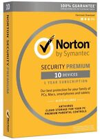 Norton Security Premium With Backup - 10 Device For Pc/mac/android/ios New✔