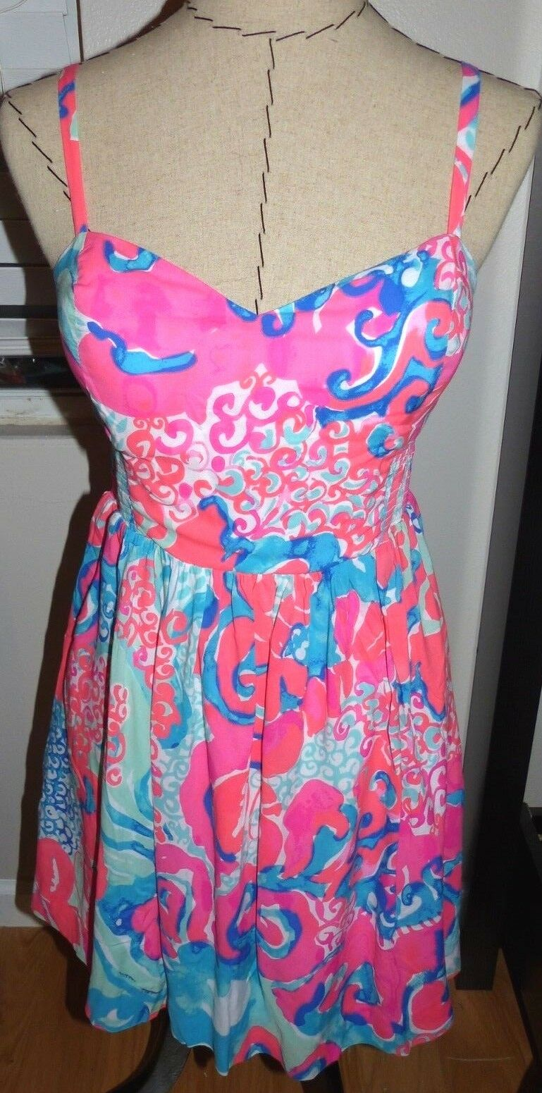 LILLY PULITZER Christine Dress  Coral Reef  I'M SO JELLY Größe 4  NWT