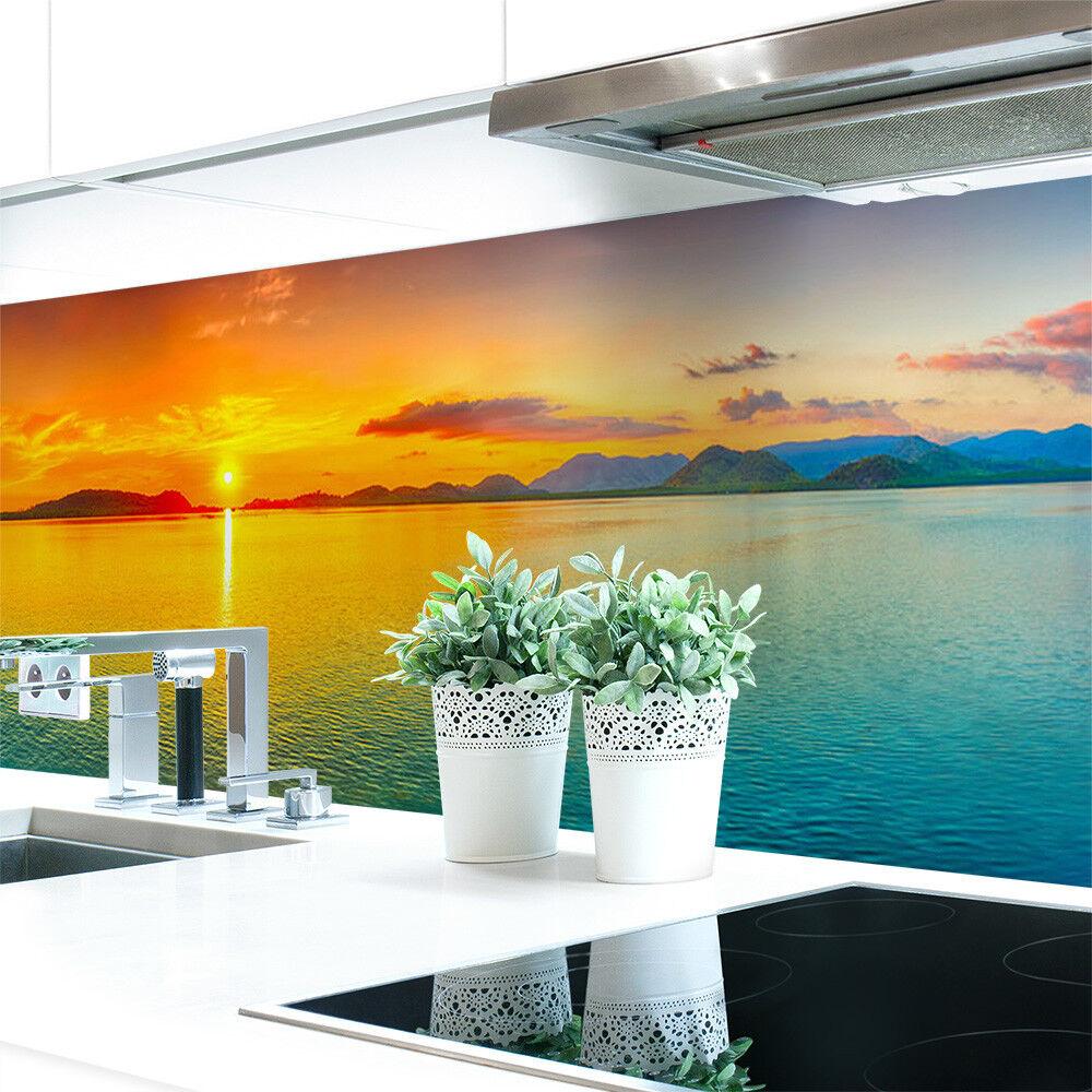 Cuisine Mur Arrière Coucher de PVC Soleil Coloré Premium PVC de dur 0,4 mm auto-adhésif 6810db