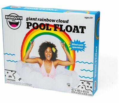 New Nib Bigmouth Giant Rainbow Cloud Big Pool Float W/sparkles 4ft Swim Toy