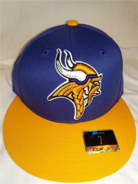 ebc662f59 NFL Minnesota Vikings Reebok Size 7 1 8 Fitted Hat Cap Purple Gold ...