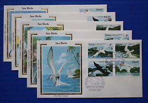 "Palau (C01-C04, C04a) 1984 Seabirds Colorano ""Silk"" FDCs"