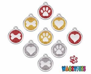 GLITTER-Engraved-Personalised-Dog-Cat-ID-Tags-Discs-Paw-Bone-Heart