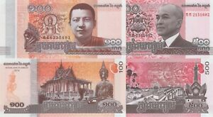Cambodia-2-Note-Set-100-and-500-Riels-2014-p67-p68-UNC