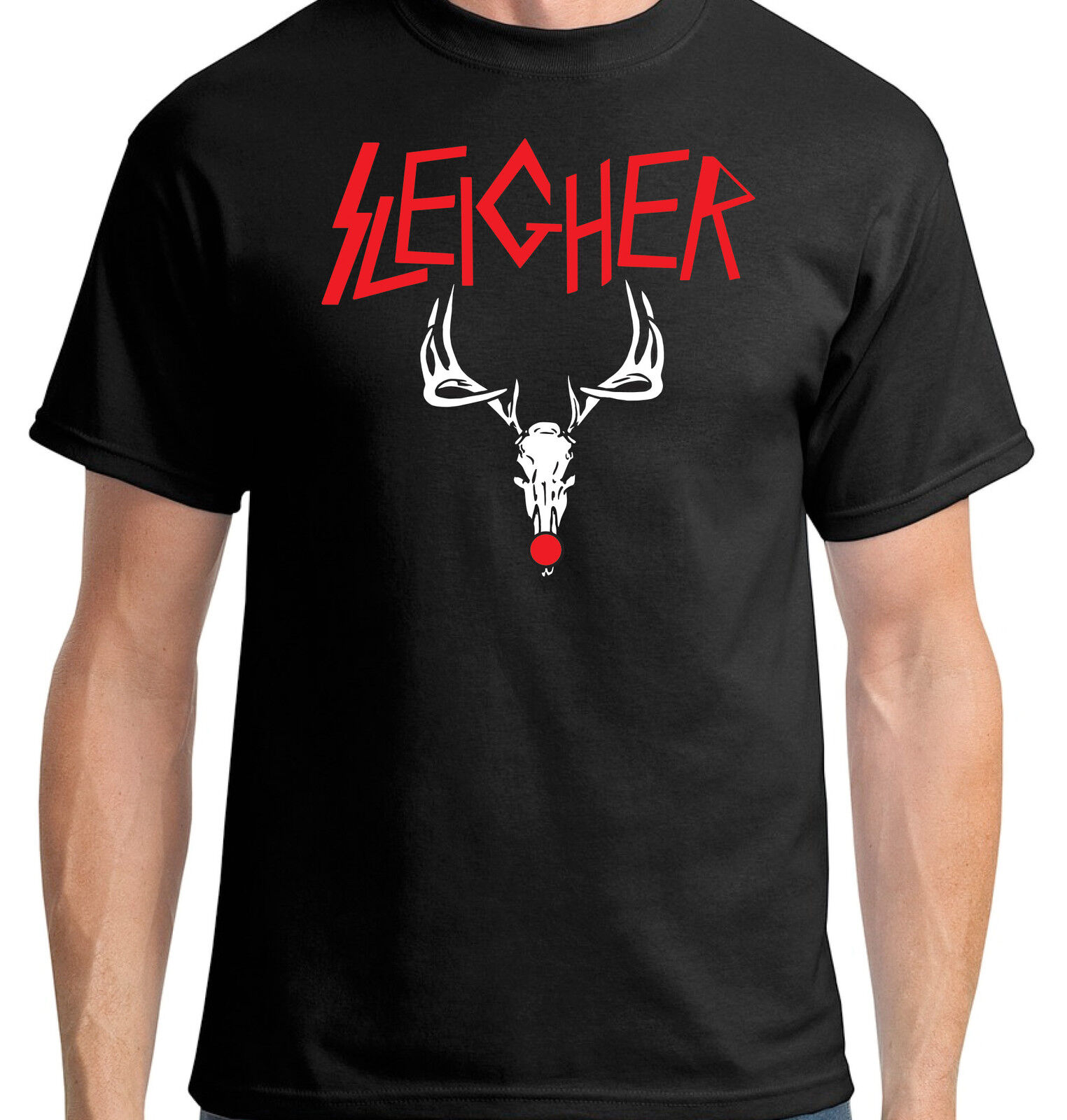 T-shirt sleigher-Heavy Renne Metal Rock Thrash Drôle Noël Rudolph Renne  sleigher- 176b3c8d726e