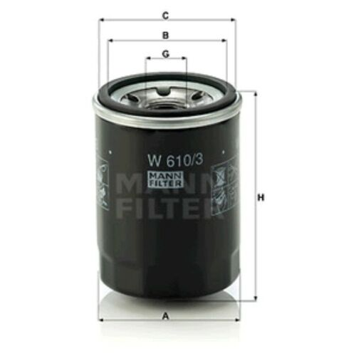 Mann W610//3 Oil Filter Spin On 90mm Height 66mm Outer Diameter Service