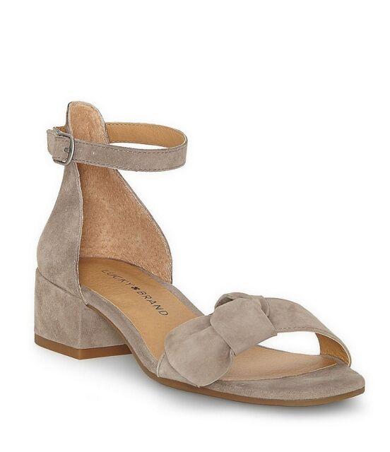 3fb7b85c1b4 Lucky Brand Noliviah Brindle Kid Suede Leather Block Heel Ankle Strap Sandal  6.5