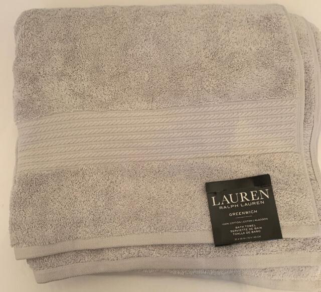 """Lauren Ralph Lauren Greenwich Bath Towel New NWT Light Gray 100% Cotton 30"""" x 56"""