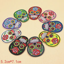 Skull Steam Punk Funky Iron Sew on Appliques Patches Motifs Embroidered Bikers