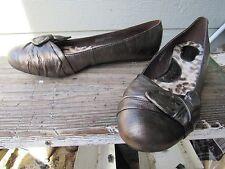 Born MOLLY Gold Bronze Metallic Leather Ballet Flat US 10 EU 42 Knot Front