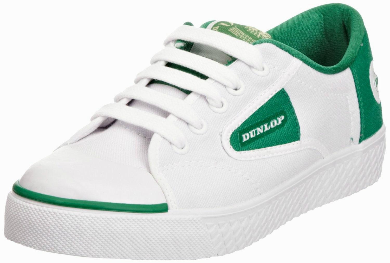 Dunlop GREEN FLASH Trainers Size 4-13 White/Green Unisex Retro Canvas Plimsolls