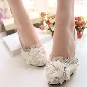6ccfc644935 Details about Lace Butterfly Wedding Prom Bridal shoes High Heels Low Heels  Flat Party Shoes