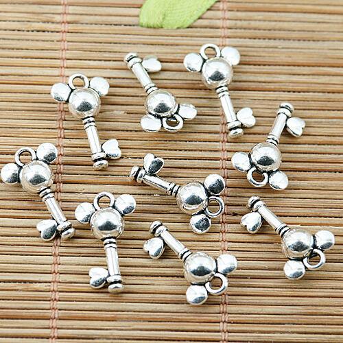 30pcs tibetan silver tone key design charms EF1971