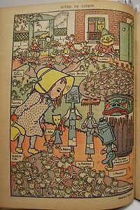 Caricature Of Garden Little Girl Watering Can Georges Delaw Chromo ❤ 1899