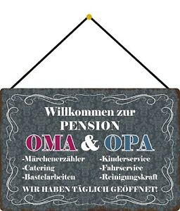 Willkommen-To-Guest-House-Oma-amp-Grandpa-Shield-with-Cord-Tin-Sign