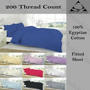T 200 BLUE EGYPTIAN COTTON FITTED BED SHEETS SINGLE DOUBLE KING SUPER KING