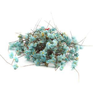 Lot-150-Vintage-Czech-micro-lampwork-blue-flower-headpin-glass-beads-10mm