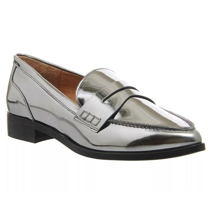 Womens Office Silver Synthetic Slip On Pointed Flats Size UK 7 New In Box
