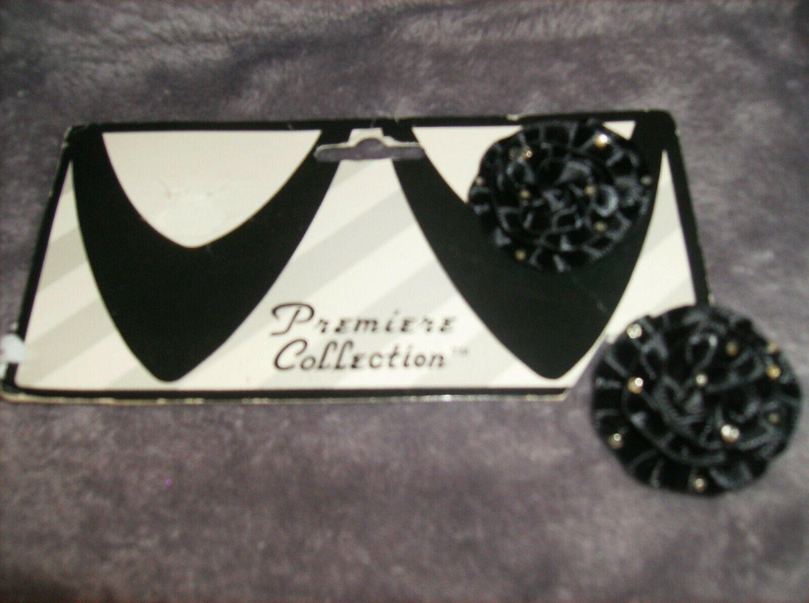 SET/2 BLACK RIBBON ROSE WITH RHINESTONES Shoe Clips Great Gift DELUXE NEW #12