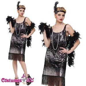 20e81042c3d1 Ladies Flapper 20s 1920s Chicago Gangster Fancy Dress Costume Sequin ...