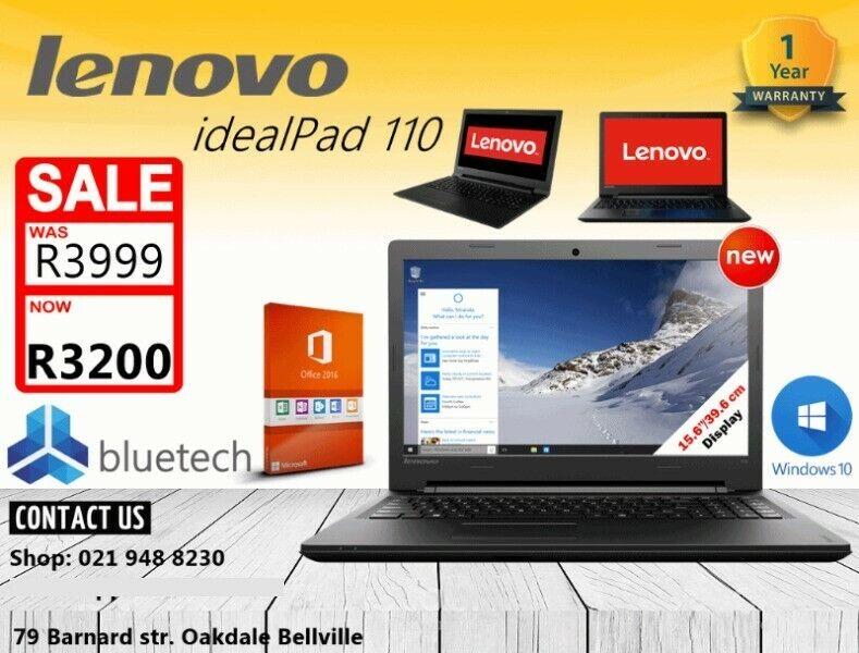 Lenovo idealPad 110 Laptop, Win 10, Office 2016, 12 Months garantee, Bluetech 021 948 8230.