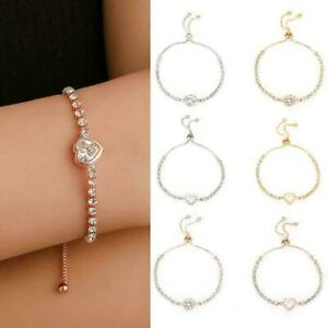 Women-039-s-Adjustable-Chain-Bracelet-Rhinestone-Crystal-Bangle-Fashion-Jewelry-E3I3