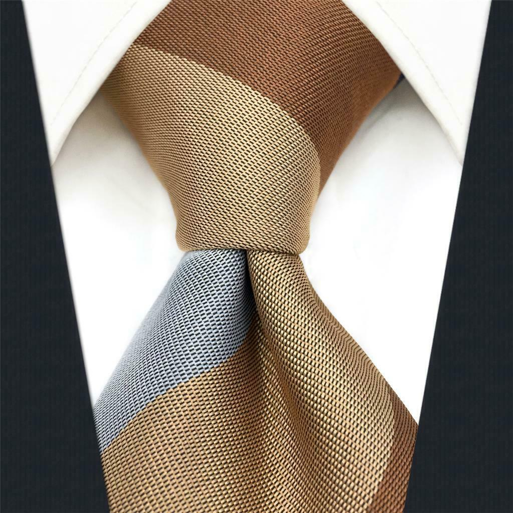 S&W SHLAX&WING New Ties for Men Striped Blue Brown Necktie for Suit Jacket Busin