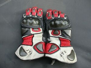 JTS SIZE SMALL RED & WHITE WITH BLACK  LEATHER CE APPROVED MOTORCYCLE GLOVES