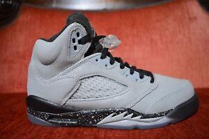 8a6deb67b0e61 Nike Air Jordan 5 V Retro Big Kids 440892-008 Wolf Grey Black Shoes ...