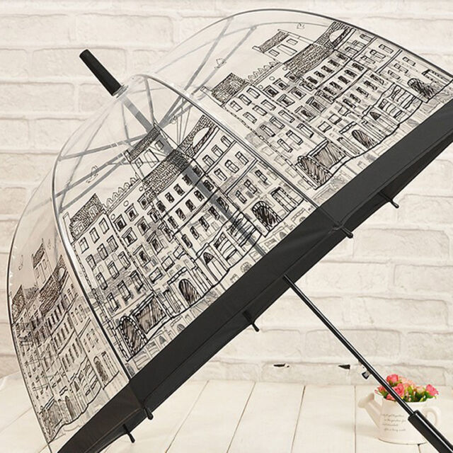 Hot Transparent Dome/Birdcage Umbrella Stick Long  Pattern Print Umbrella New