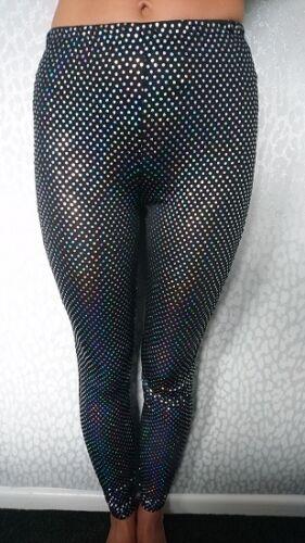 NEW Girls Kids Black Silver Sequin Shiny Disco Strechy Leggings Age 2-13 SALE