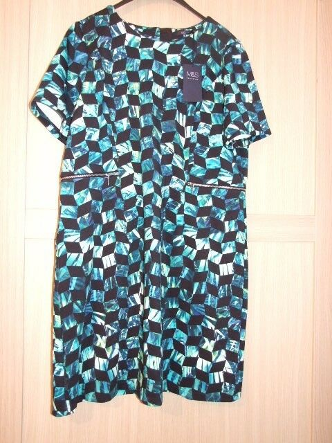 M&S Marks and Spencer Geometric Print Stretch Dress With Zip Detail Size 20 Bnwt
