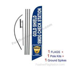 Smog Check Gold Shield blue 15' Feather Banner Swooper Flag Kit with pole+spike