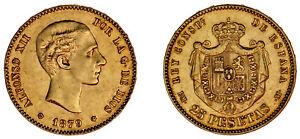 25 GOLD PESETAS - 25 PESETAS ORO. ALFONSO XII. MADRID 1879*. AU / SC-.