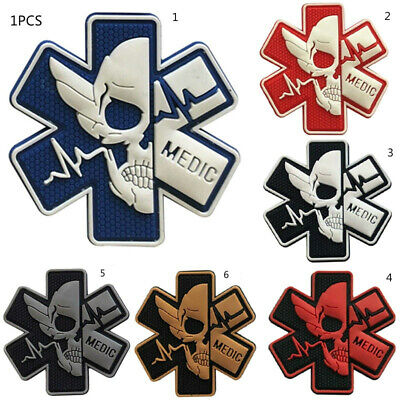 1PCS Skull Patch PVC Rubber Badge Hook Patches Army Military Morale Patch