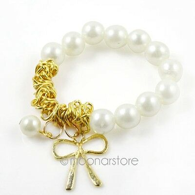 Women HOT Jewellery Sweet Bow Bowknot Pearl Hand Chain Bracelet Cuff Bangle 2014