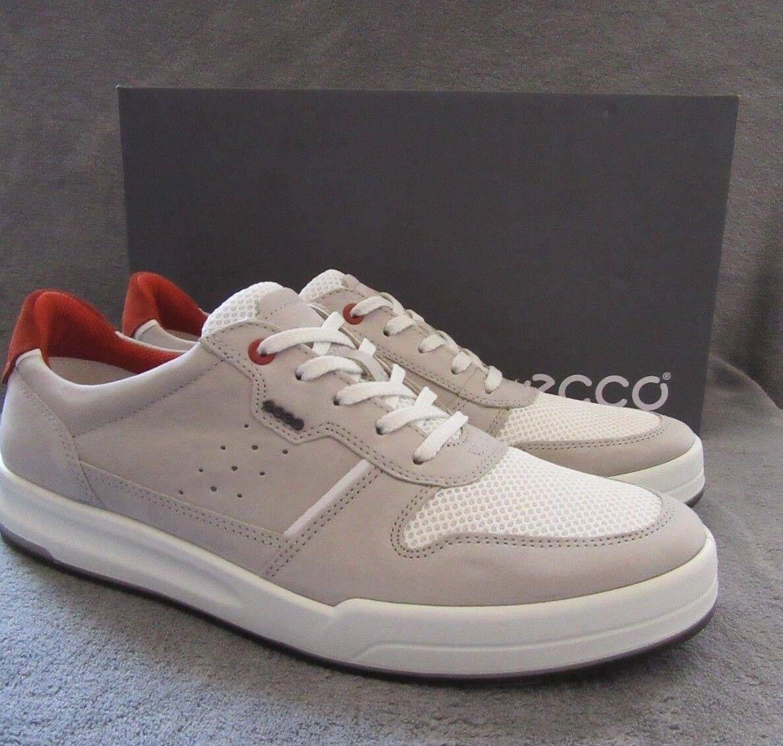 ECCO Jack Wild Dove en cuir Blanc Cravate baskets Chaussures 10 US - 10.5 m 44 euros Neuf avec boîte