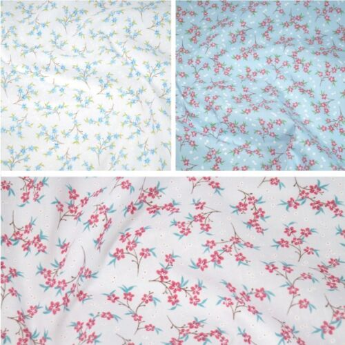 Polycotton Fabric Zinnia Floral Flowers Vines Craft Material