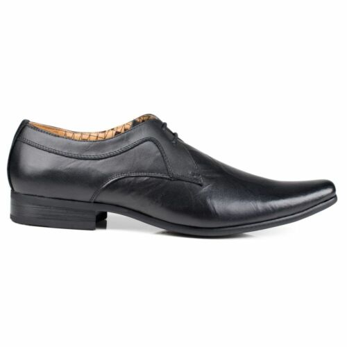 Front Lace Wrinkled Leather Toe Shoes Smart Pointed Black up Mens Rossi UqxwrUf