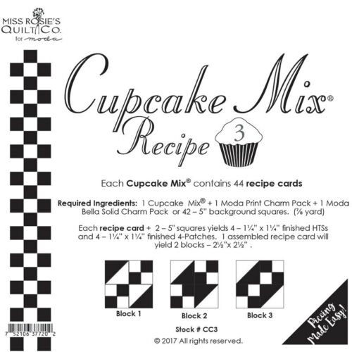 Quilt Pattern ~ CUPCAKE RECIPE CARDS ~ by Miss Rosie/'s ~ Choose from 4 Sets