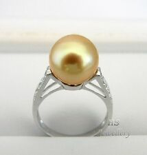HS Rare 11.25mm Golden South Sea Cultured Pearl & Diamond .30tcw Ring 18KWG Top