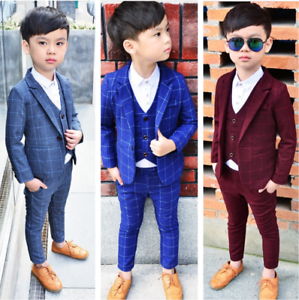 3pcs Kids Baby Boys Gentleman Suit For Wedding Party Coat+Vest+Pants Formal Sets