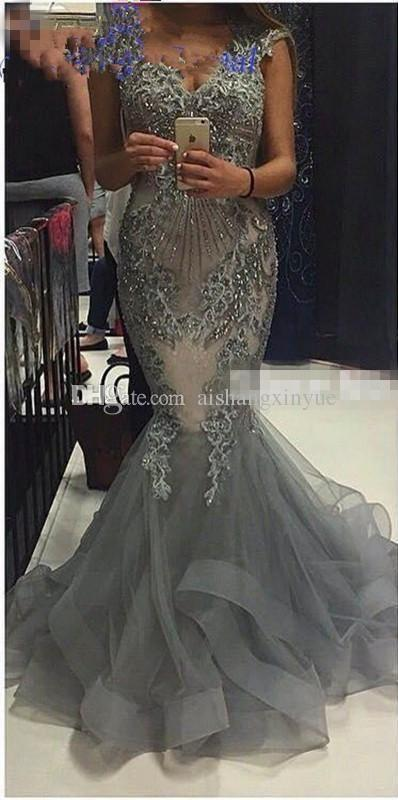 2018 Mermaid Beaded Lace Formal Celebrity Gowns Evening Dress Dress Dress Party Pageant Prom 318696