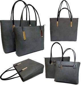 Details About Grey Womens Work Bag Large Tote Handbag Briefcase Office Shoulder Designer Plain